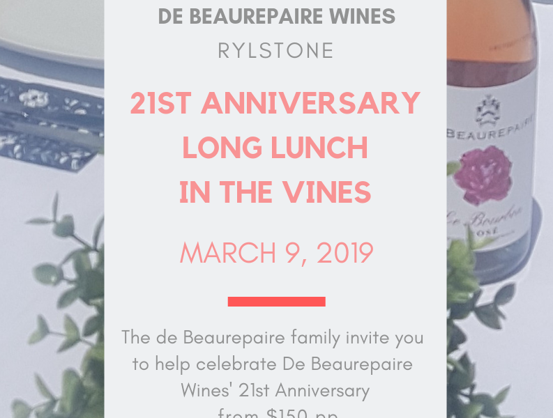 De Beaurepaire Wines 21st anniversary long lunch 09/03/19